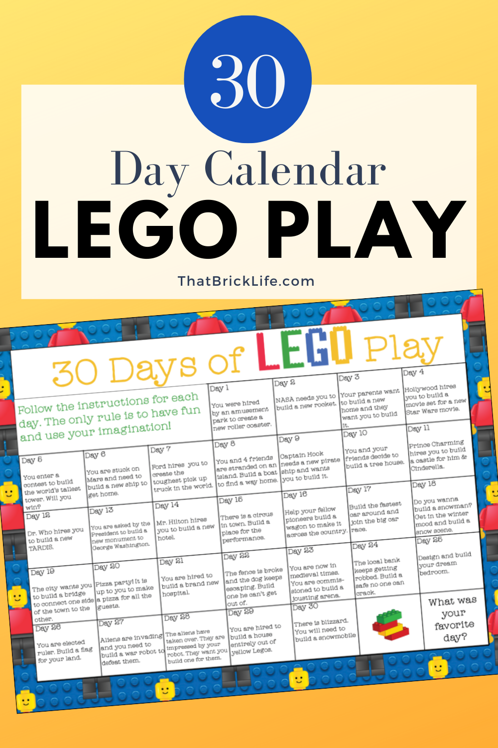 We put together a 30 Days of LEGO Play calendar. It's a great way to really challenge kids (or yourself) to create something new with their LEGO bricks!